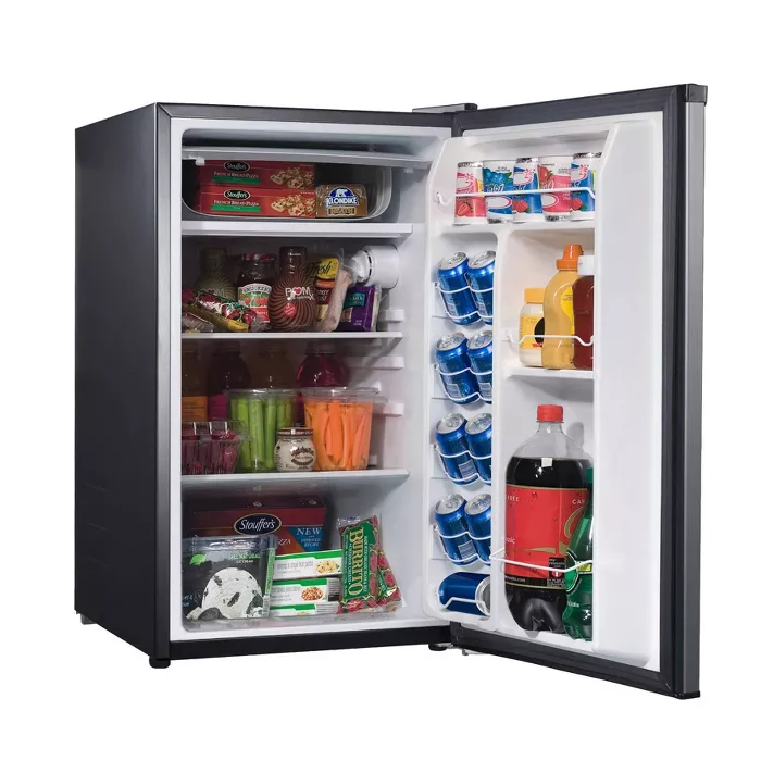 Whirlpool 4 3 Cu Ft Mini Refrigerator Stainless Steel Bc 127b In 2020 Stainless Steel Refrigerator Fridge Design Refrigerator Dimensions