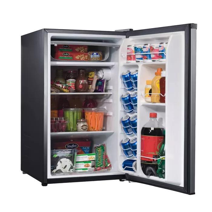 Whirlpool 4 3 Cu Ft Mini Refrigerator Stainless Steel Bc 127b In 2020 Stainless Steel Refrigerator Fridge Design Refrigerator Dimensions