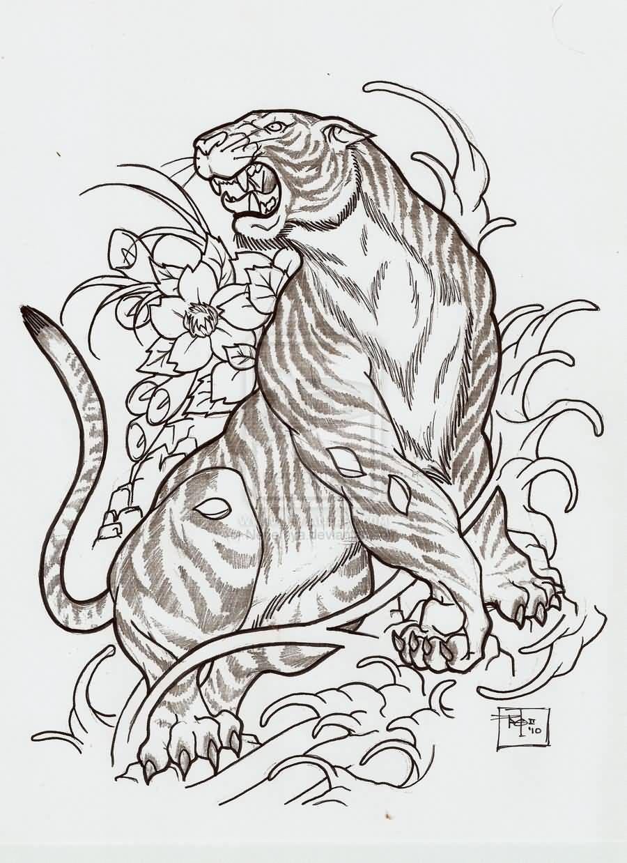 Outline Flowers And Japanese Tiger Tattoo Design Japanese Tiger Tattoo Tiger Tattoo Tiger Tattoo Design