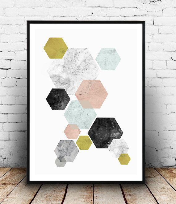 Geoemtric art, abstract wall print, watercolor poster, scandinavian design, hexagon print, home decor, pastel colors, minimalist art, simple