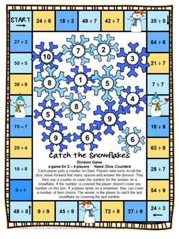 Winter Activities Snowman Math Games Multiplication And Division
