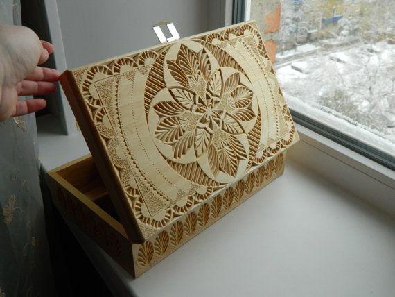 Scatola di legno intagliato pausa tè, tè scatola, regalo per ogni occasione