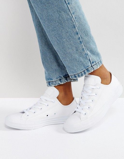 Converse Chuck Taylor Ox leather white monochrome sneakers