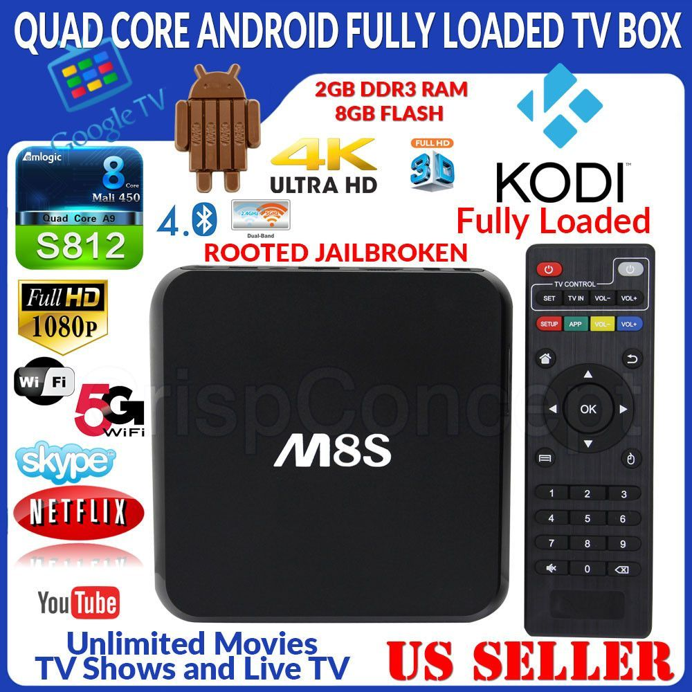 MBOX M8S Quad Core Jailbroken Android Fully Loaded XBMC TV