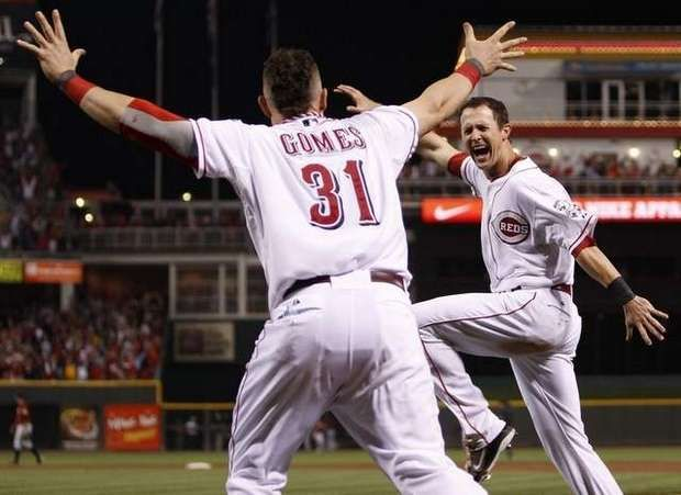 Drew Stubbs said his favorite moment of 2010 was Jay Bruce's home run to clinch the pennant. See other memorable Reds walkoff wins in The Enquirer's gallery. (The Enquirer/Jeff Swinger)