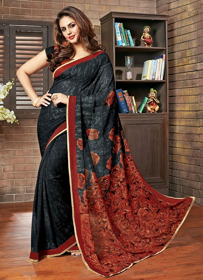 huma qureshi black amp rust georgette saree sarees