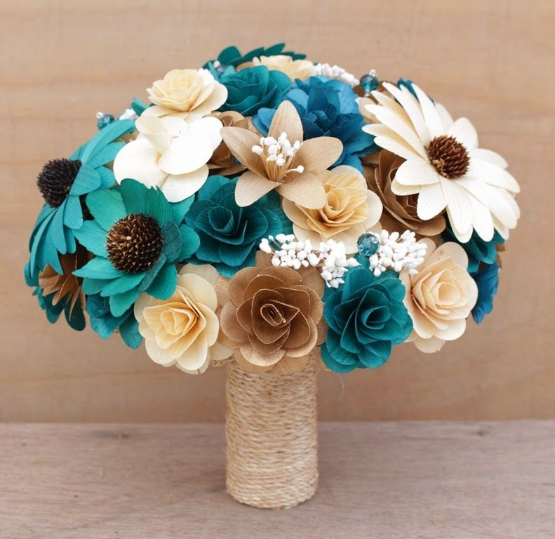 Teal And Copper Wedding Bouquets Corsages And Boutonnieres Made Of Wooden Flowers Teal Wedding Theme Fall Wedding Bouquets Diy Wedding Bouquet
