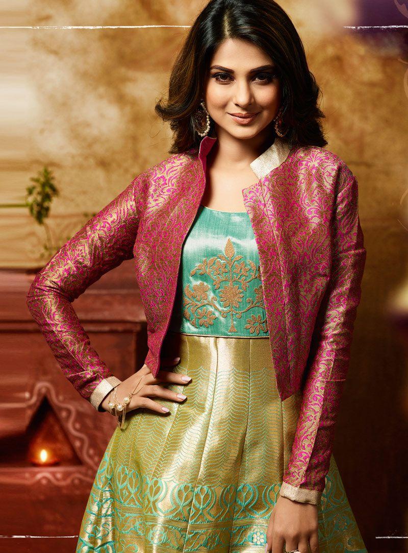 a3ed70f183 Buy Jennifer Winget Light Green Banarasi Jacket Style Floor Length Anarkali  Suit 105129 online at lowest price from vast collection at  m.indianclothstore.c.