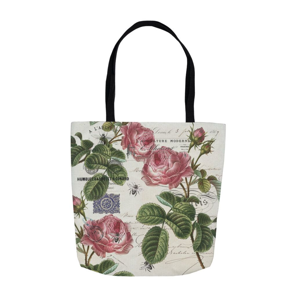 2a214563d90c Roses Pink French Canvas Tote Bag, Canvas Bag, French Vintage ...