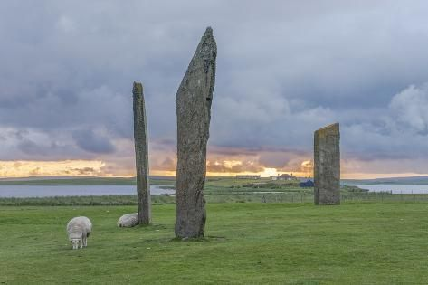 UK, Scotland, Orkney Island, Stones of Stenness, a ceremonial site dating back to the Neolithic age Photographic Print by Rob Tilley | Art.com
