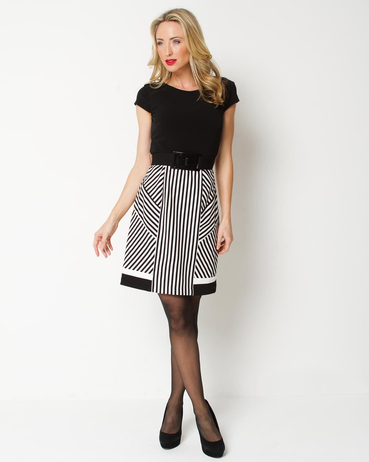 Product name sandra darren striped belted dress at modnique