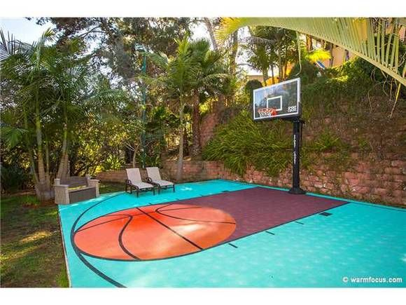 16 Homes With Basketball Courts You Can Buy Now Basketball Court Backyard Home Basketball Court Backyard Basketball