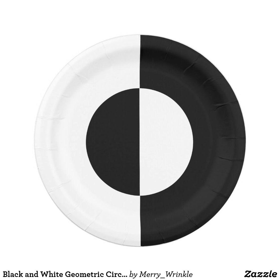 Black and white geometric circle pattern paper plate