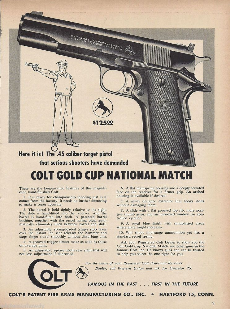 1957 Colt Gold Cup National Match 45 Pistol Ad Gun