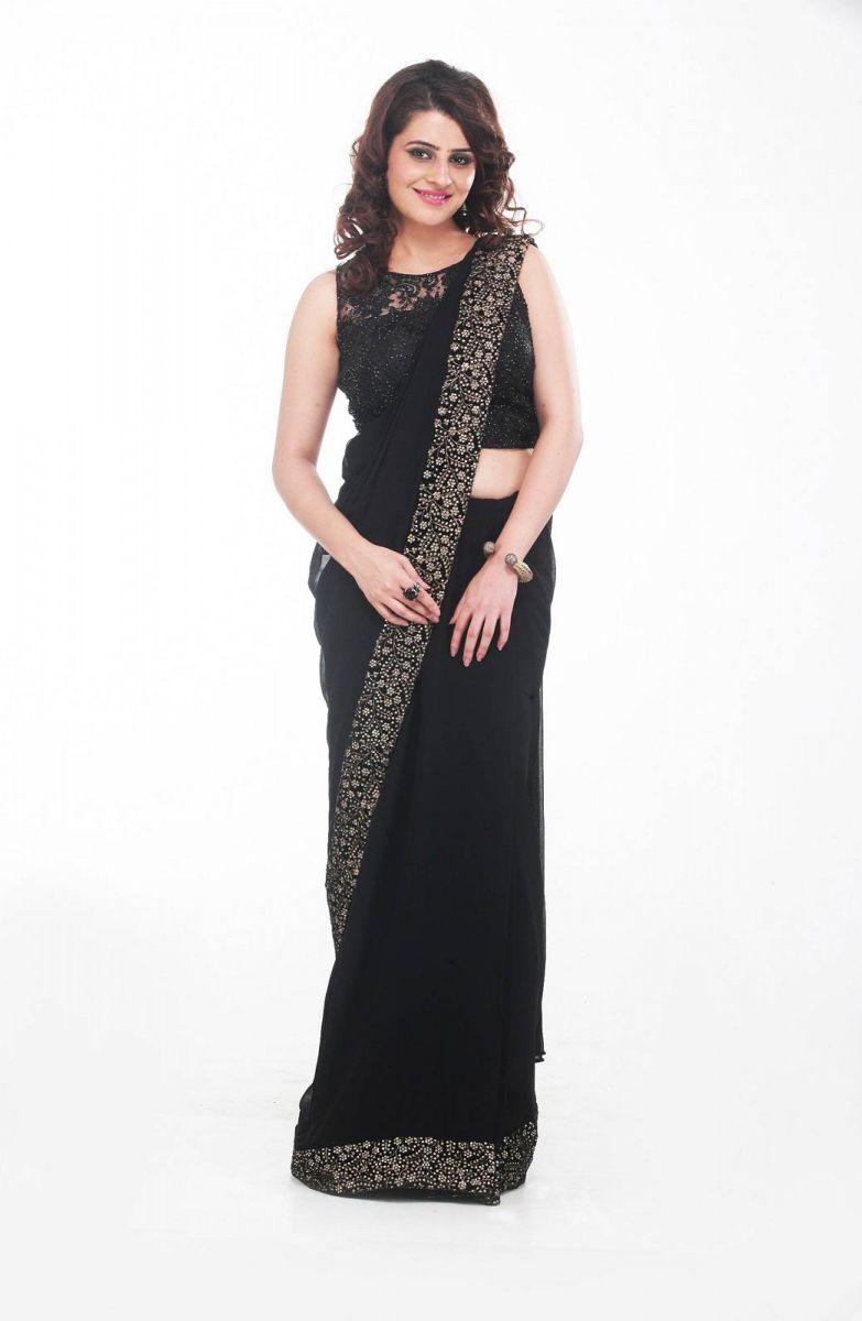 442ead4e3f3bf6 Black Mink Saree Preeti Singhal s Black Georgette Saree with a sequined  border