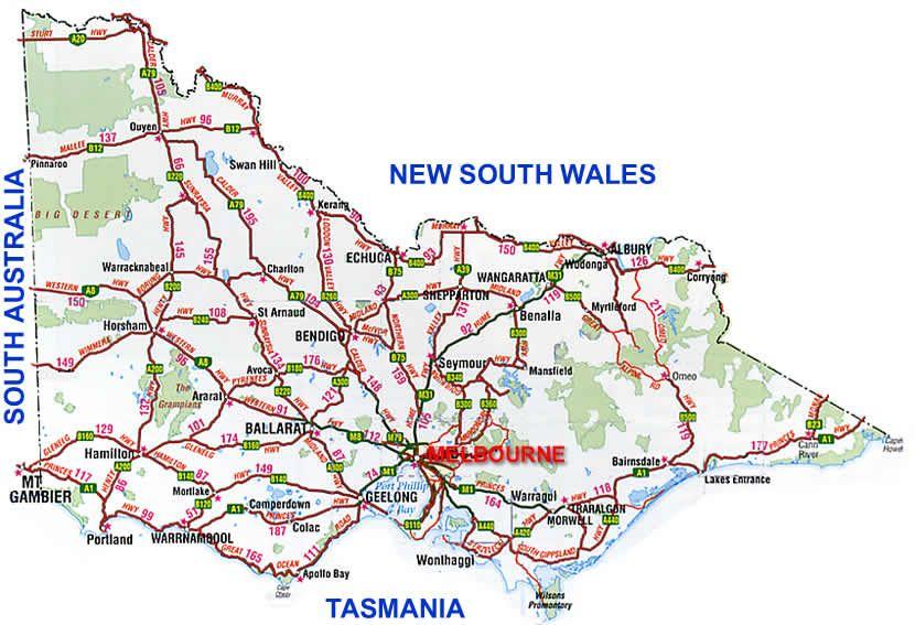 Road Map Victoria Australia.Roadmap Of Victoria Australian Road Trips Map Of