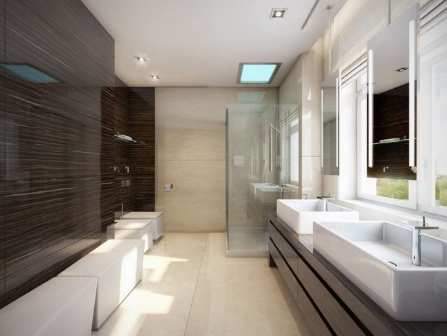 bad ohne fliesen glaspaneele holzoptik dunkel Wohnideen
