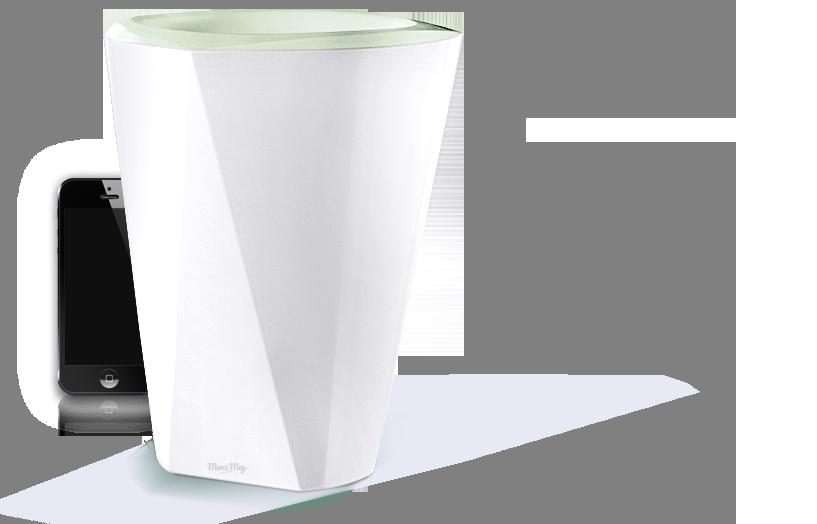 La société française MEG avait présenté au CES un pot (gros) connecté et lumineux pour choyer vos plantes même en votre absence (4 semaines) grâce à un réservoir d'eau intégré. A découvrir... ||| http://blog.domadoo.fr/2014/01/23/ces2014-meg-cree-le-pot-de-fleur-connecte/