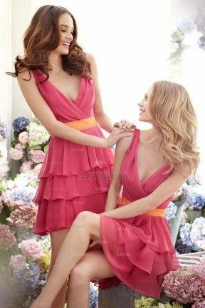A-Line/Princess V-neck Short/mini Chiffon Bridesmaid Dress
