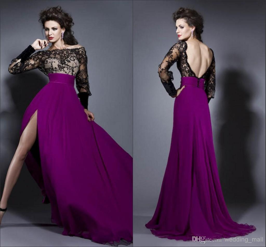 amazing black lace purple chiffon side slit a line cocktail