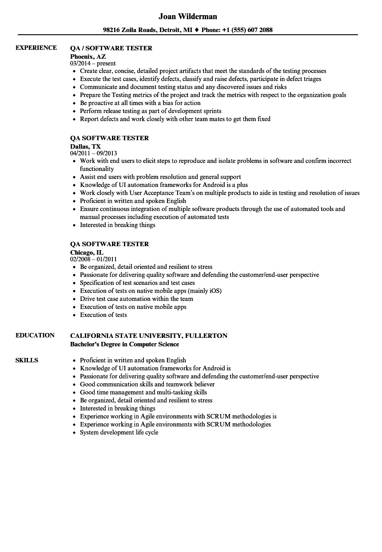 Qa Software Tester Resume Samples Resume Resume Templates Resume Guide