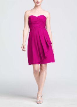 5557a7ec77b Short Crinkle Chiffon Dress with Front Cascade Style F14847  David s Bridal  Begonia