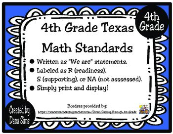4th Grade Texas Math Standards 4th Grade Math Pinterest Math