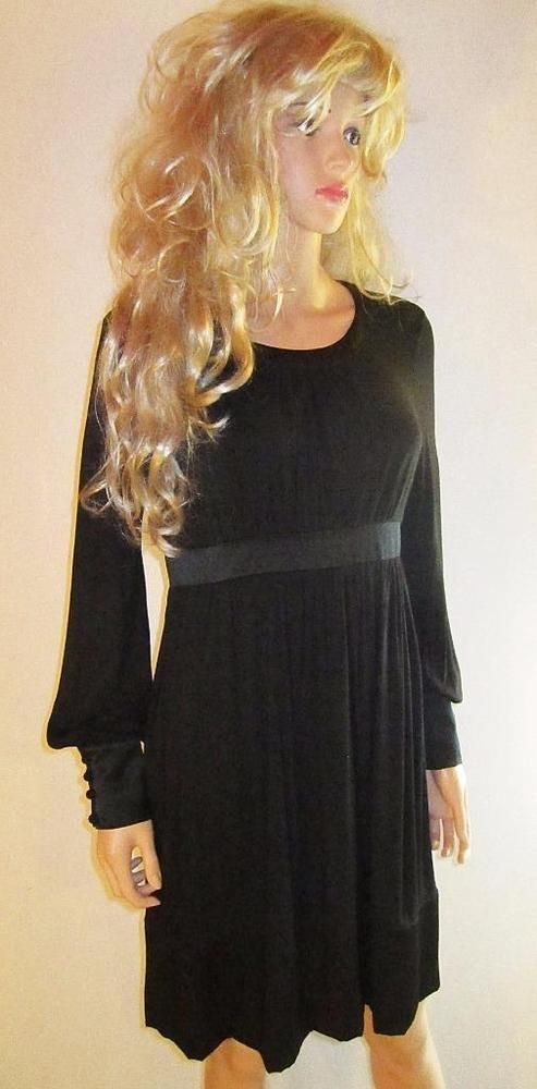 Victoria's Secret $89 Long Sleeve Silk Trim Black Dress 8 #VictoriasSecret #LongSleeveDress