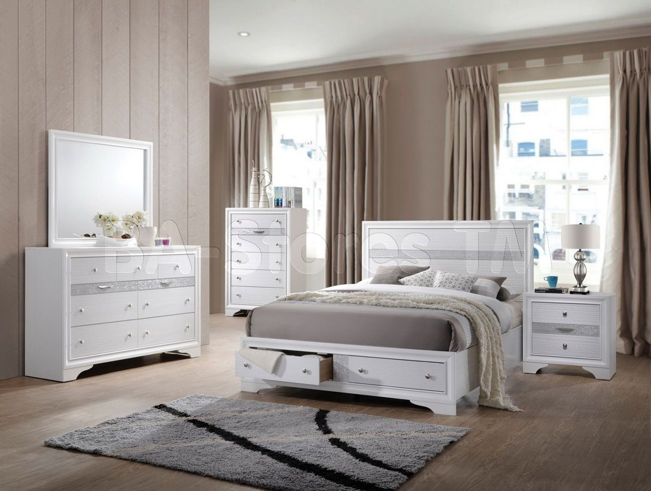 Best Naima 5 Pc Bedroom Set In White By Acme Furniture White 400 x 300
