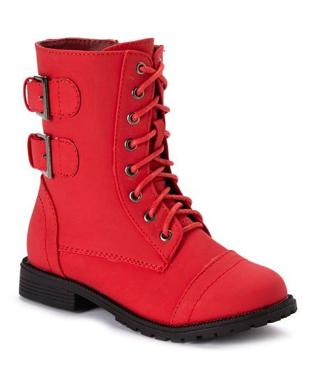 QQ Girl Red Cozy Lace-Up Ankle Boot | zulily