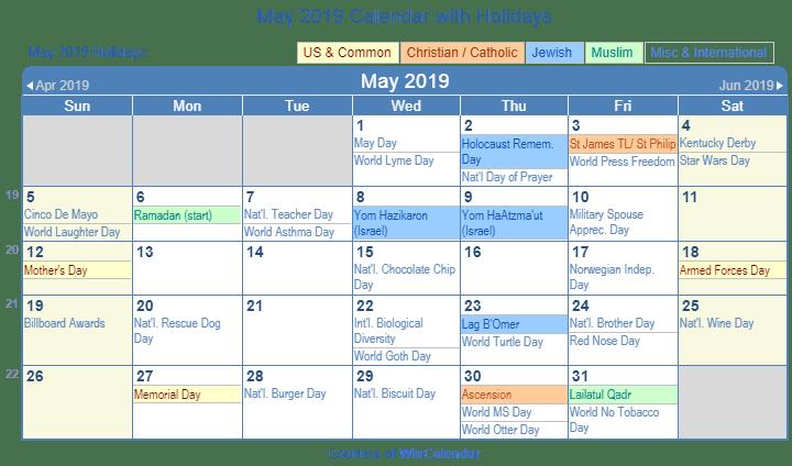 May 2019 Federal Holidays Calendar Holiday Calendar Federal Holiday Calendar 2019 Calendar