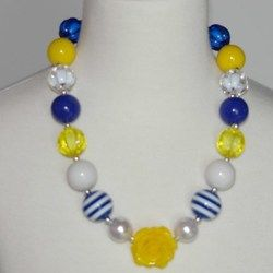 Nautical Yellow Chuncky Necklace w/Flower Pendant only $6.99 at www.gabskia.com