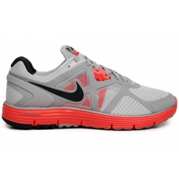 5aced49662336 Mens Nike Lunarglide + 3 SZ 11.5 Pure Platinum Black Wolf Grey Orange 454164 -001