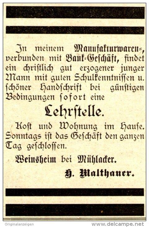 OriginalWerbung/ Anzeige 1905 LEHRSTELLE IM