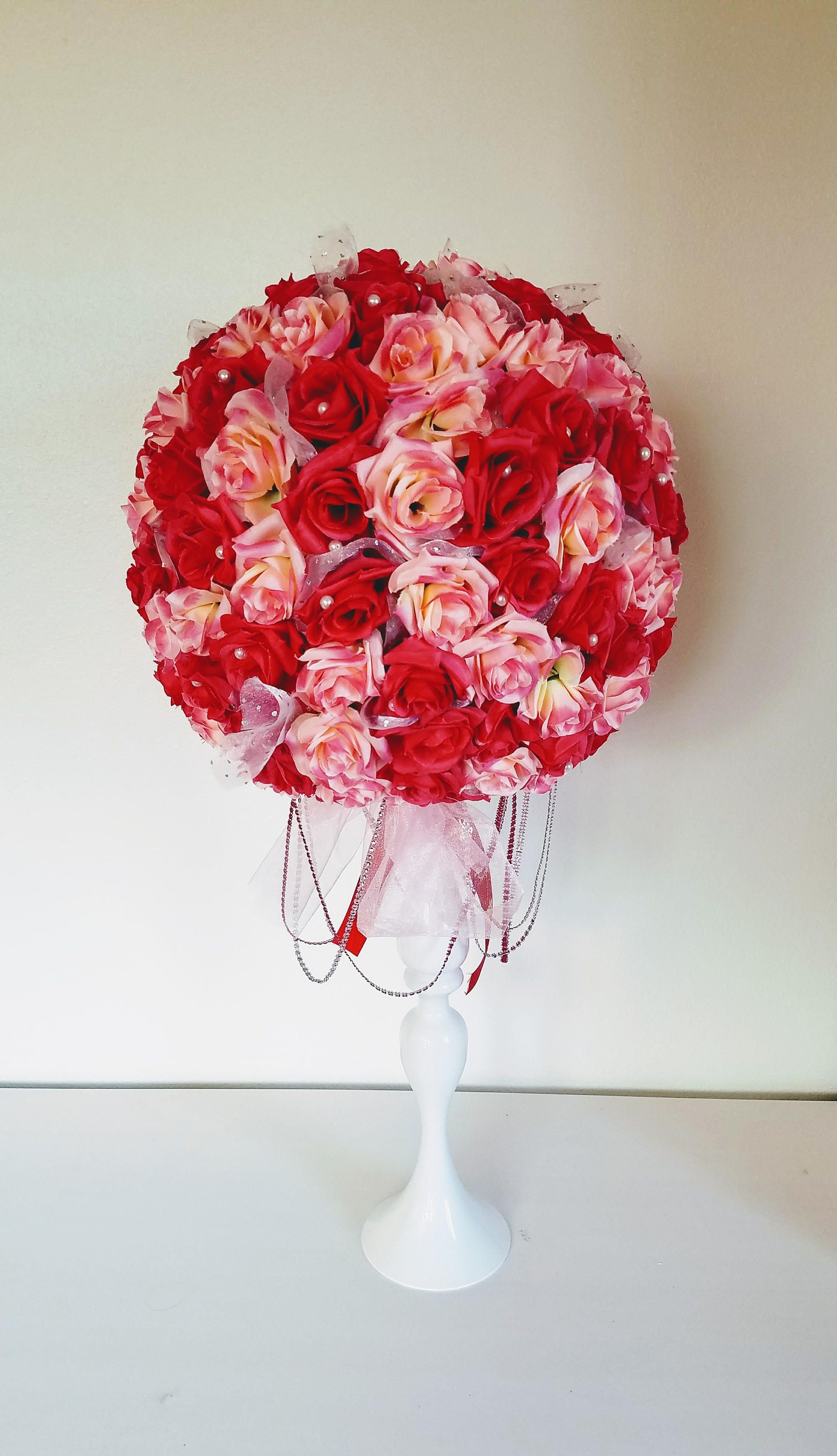 Pink and red rose flower ball, faux pomander with pearls, pink red ...