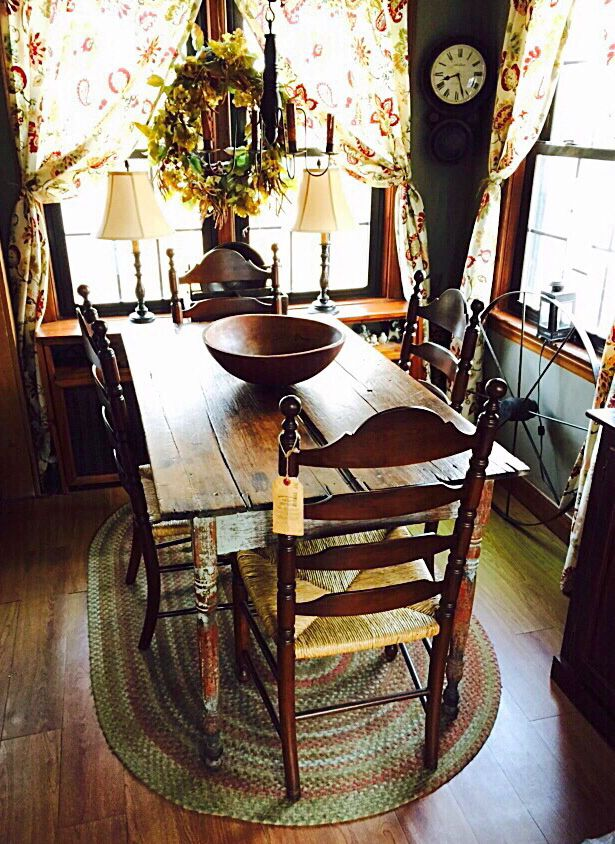Original 1870u0027s Farm Table From Hudson New York Area. Original Paint And  Boards. Complimented By Antique Ladderback Chairs.