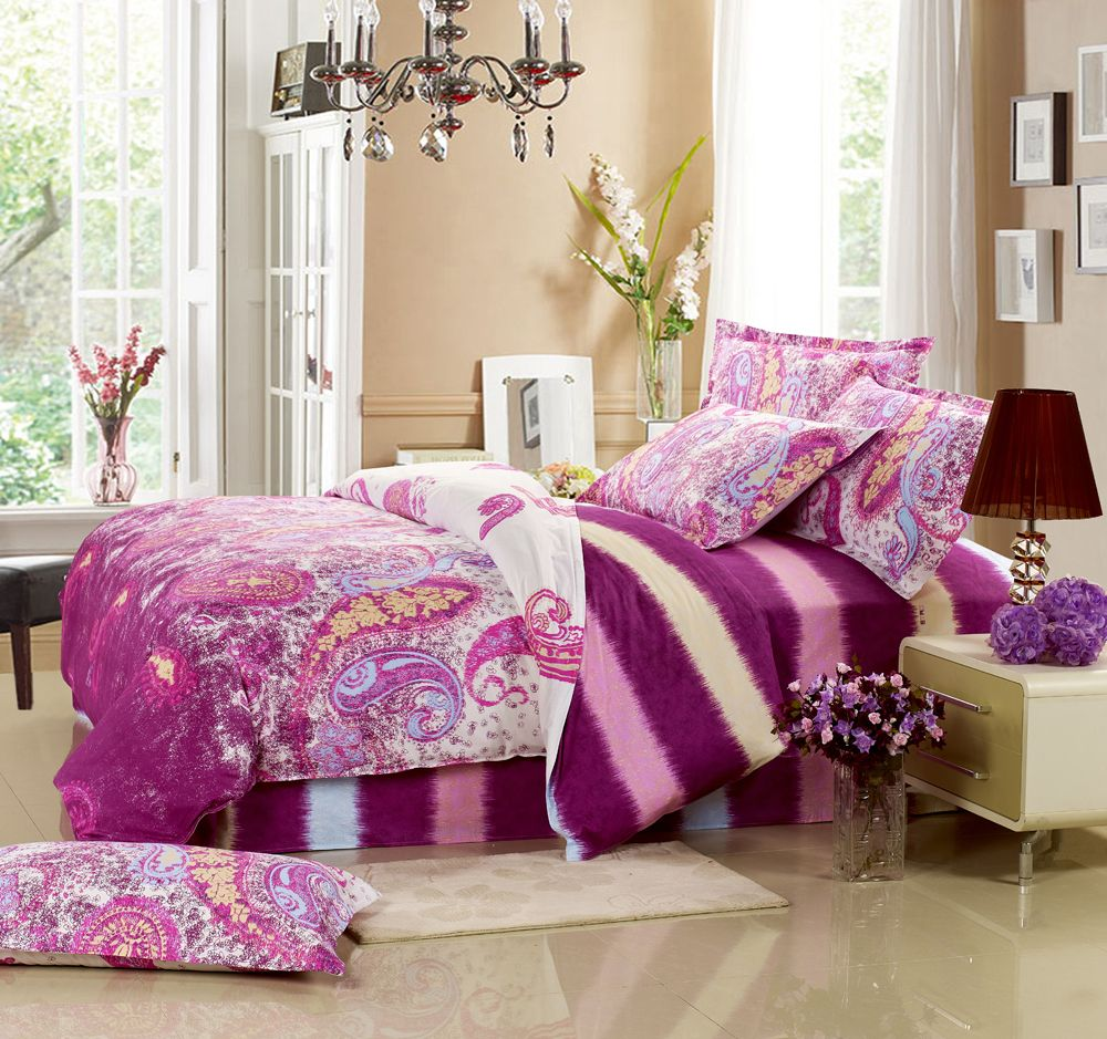 hot!! 100%Cotton four pieces bedding set...LOVE these colors! Not sure about the paisley but the colors look AMAZING together!