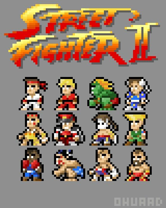 The Originale Street Fighter 2 Casting In 16 X 16 Pixels
