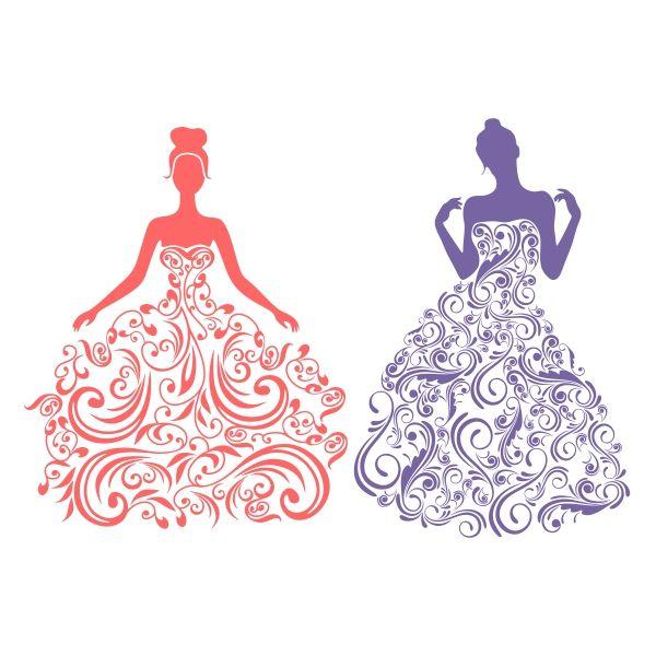 Bride In Floral Wedding Dress Cuttable Design Cut File