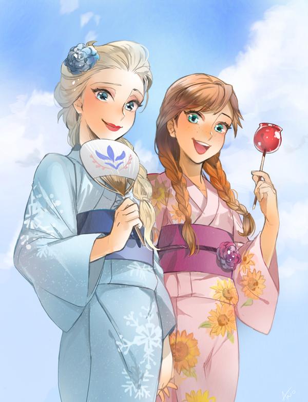 #japanese #frozen #disney #fanart #dress #elsa #anna #and #ano #in #byElsa and Anna in Japanese dress by ANO