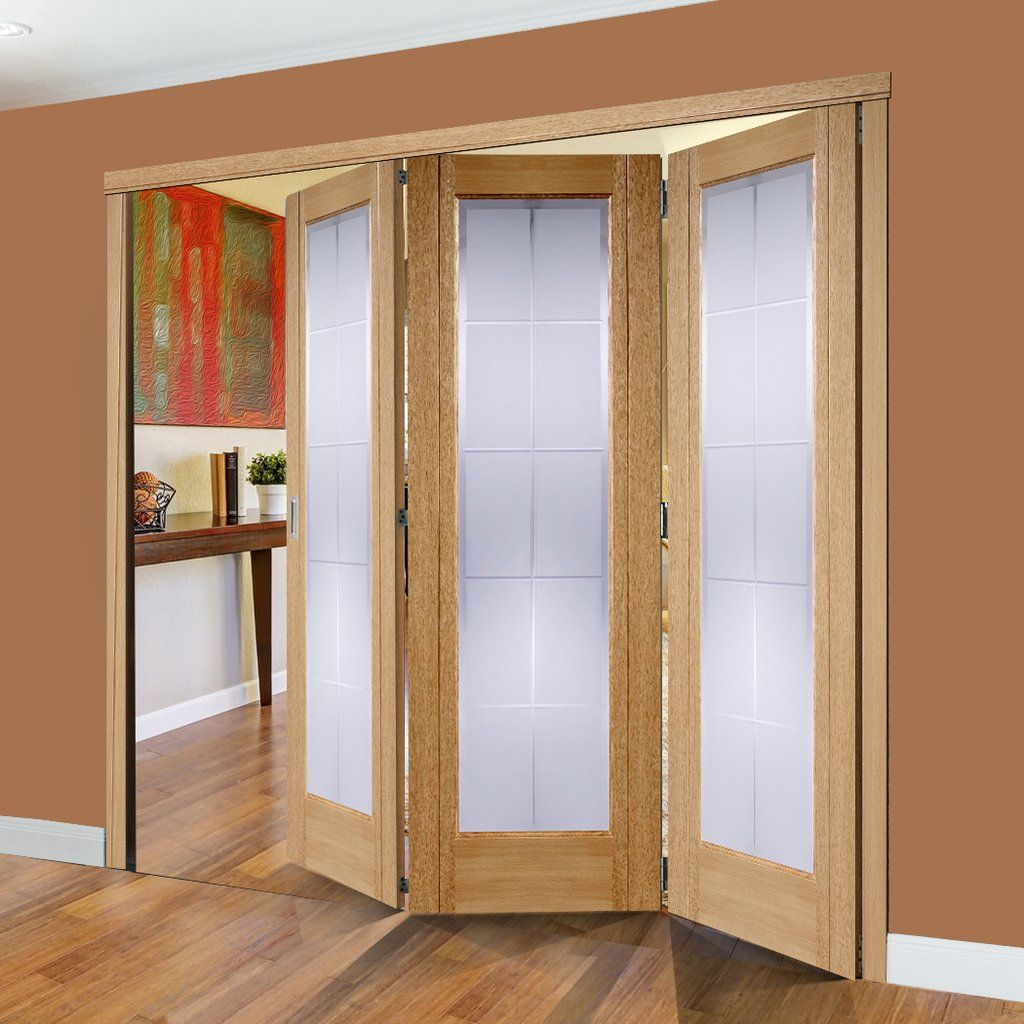 Folding Nuvu Seville Oak 3 Door Set With Frosted Glass 2078mm High And 2130mm Wide Internal Doors Internal Folding Doors Bi Fold Doors Internal