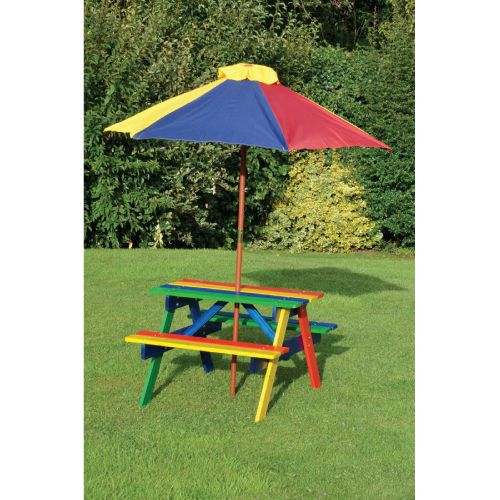 Let The Children Feel Grown Up! Kidsu0027 Colourful Picnic Table And Bench Set |