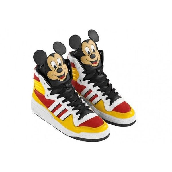 Jeremy Scott makes Mickey Mouse sneakers for Adidas ❤ liked on Polyvore featuring shoes, sneakers, jeremy scott, jeremy scott shoes, jeremy scott trainers, mickey mouse shoes and jeremy scott sneakers