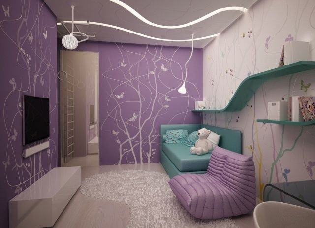 wandgestaltung jugendzimmer mdchen lila wandfarbe schablone schmetterlinge