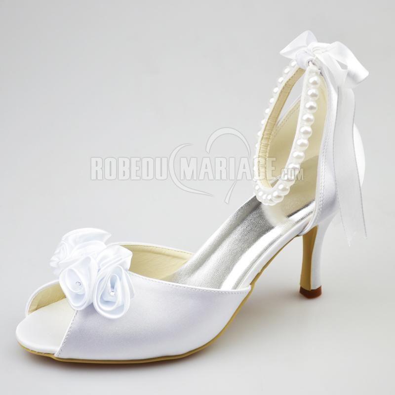 Fleur perles satin chaussure de mariée talon haut de 8cm [#ROBE208316] - robedumariage.com