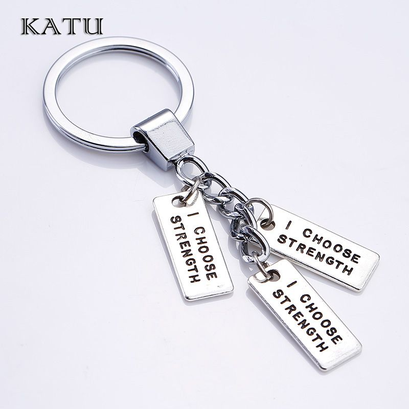 Katu Vintage Silver Letter Keychain Fashion Metal Letter Tag Charms