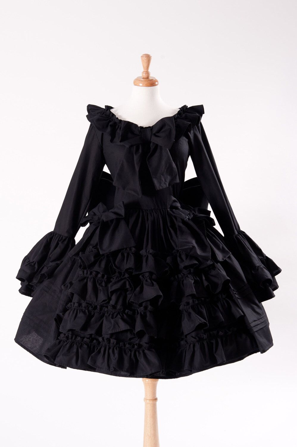 Black Gothic Lolita Goth Loli Cotton Dress and Detachable Bow Cosplay  Custom Size including Plus Size