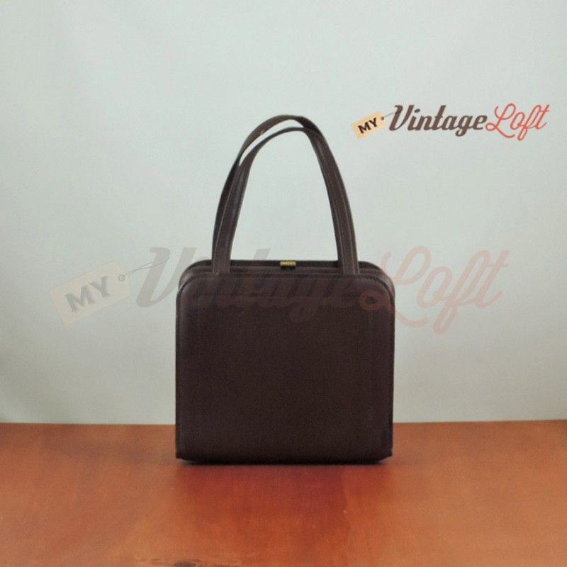 70s squared brown leather clutch