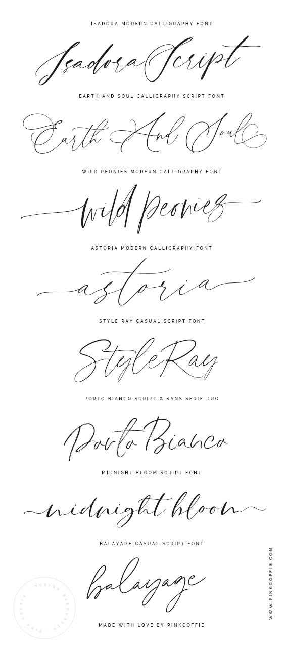 Hand Lettered Script Fonts by PinkCoffie
