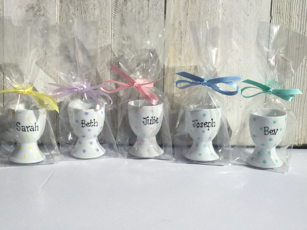 Personalised Easter Egg Cup Gift Wedding Favour Kids Party Handpainted Porcelain